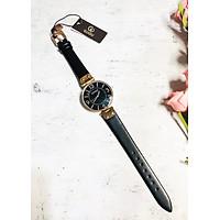 Đồng hồ nữ dây da mặt tròn đen thanh lịch Guou ĐHĐ23005