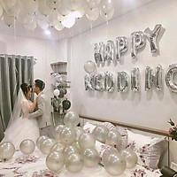 Bộ bóng trang trí phòng cưới phòng tân hôn tông trắng bạc