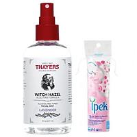 Nước Hoa Hồng Dạng Xịt không cồn Thayers Toner Facial Mist Lavender 237ml + Tặng kèm  bông tẩy trang Ipek 80 miếng