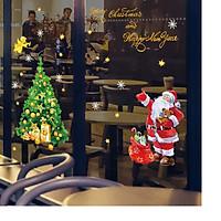 Tranh decal dán tường ông già Noel và cây thông cao cấp