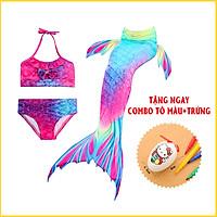 Đồ Bơi Quần Áo Tắm Bikini Nàng Tiên Cá Cho Bé Gái Đi Biển CHƯA Kèm Chân Vịt nhựa (Tặng conbo tô màu + trứng)  E83