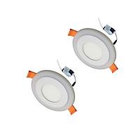 2 Đèn Led âm trần 6w ( 3w +3w) tròn mắt trâu 2 màu 3 chế độ Posson LP-Ri3-3B-G