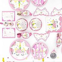 Set 16 món để bàn tiệc sinh nhật 6 người hình Unicorn lung linh cho bé – PA004