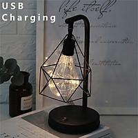 USB Creative Retro Iron Art Hollow Diamond LED Table Lamps Reading Lamp Night Light Desk Birthday Gift Bedroom Decor