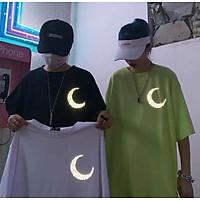 3 Color【M-5XL】Fashion Short Sleeve T-shirt Men Printed Moon Pattern Student Couple Short T-shirt Unisex T-shirt Summer New Style Oversize Couple Wear