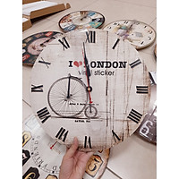 Đồng hồ treo tường gỗ in họa tiết cổ điển 14 inch