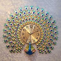 Đồng hồ treo tường nghệ thuật cao cấp- Chim công xòe đuôi 191225