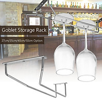 Chrome Cabinet and Bar Wine Glass Holder Hanging Rack Storage Rail Low Profile  #35cm