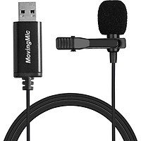 Fun Mini Microphone for PC Computer USB Straight Plug with 1.5m Cable Portable Clip-on Omni-Directional Stereo Mic - black
