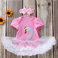 Summer Infant Baby Girls Short Sleeve Animal Goose Rompers Kids Bodysuit Jumpsuit With Headband