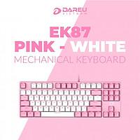 Bàn phím cơ Gaming DAREU EK87 PINK-WHITE (PINK-LED Red D switch) - Hàng Chính Hãng