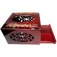 Hộp đựng khăn giấy hình vuông bằng gỗ tự nhiên, hàng thủ công cao cấp và khắc Hoa văn đẹp sang trọng