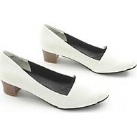 Giày Cao Gót 4cm Da Bò Thật Mũi Vuông Màu Kem Pixie P234