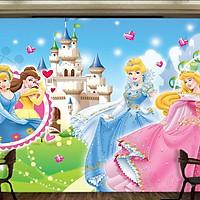 Tranh dán tường 3D 3 nàng công chúa 1 TB53
