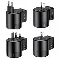 Bộ sạc chân cắm xoay đa năng Baseus 2 Cổng USB 2.4A (US/ UK/ EU/ AU, Universal USB Travel Charger/ Adapter) - Hàng nhập khẩu