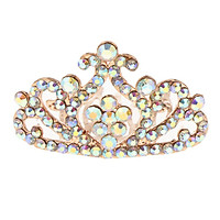 Girl Princess Rhinestone Tiara Crown with Comb Plum Blossom Crown for Little Girls Party Favors