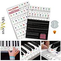 Sticker Dán nốt bàn phím cho Đàn Piano và Organ - Decal đánh dấu vị trí note nhạc dùng cho tất cả Đàn 88, 61, 54, 49 Phím Hàng Chính Hãng - Kèm Móng Gẩy DreamMaker