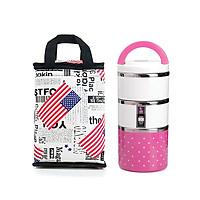 Combo hộp cơm và túi giữ nhiệt phong cách châu Mỹ - Hộp cơm hồng