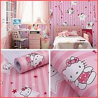 Giấy dán tường Hello Kitty sọc hồng khổ rộng 45cm có keo sẵn, Decal giấy dán tường màu hồng dễ thương