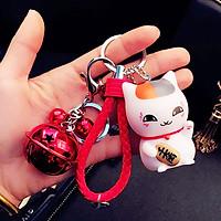 Móc khóa mèo thần tài (có lục lạc) - Màu trắng dây đỏ