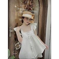 Set đồ nữ mùa hè, bộ đồ nữ áo ba lỗ đính khuy 2 màu xinh xắn