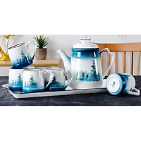 Bộ ấm chén kèm khay sứ pha trà cà phê trắng họa tiết hươu rừng xanh - ANTH007 ( Giao màu ngẫu nhiên )