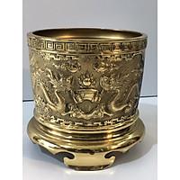Bát hương bằng đồng vàng có đường kính 18cm