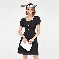 Đầm dáng xòe nữ thiết kế cổ vuông tim phối nơ kết hợp túi nắp GUMAC DB5122