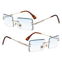 2x Women Rectangle Cut Rimless Sunglasses Retro Tinted Lens Eyewear UV400 Blue