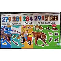 Bộ 4 cuốn Sticker( thế giới động vật, cuộc phiêu lưu thời tiền sử, nông trại vui vẻ, giao thông thành phố)
