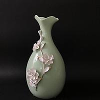 Bình Gốm Xanh Ngọc miệng hoa đính hoa trắng