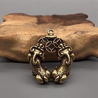 Móc khóa 2 Tỳ Hưu ngậm tiền trái tim cầu tài lộc, tình duyên, dùng trưng bày trên bàn, làm móc khóa - SP001531