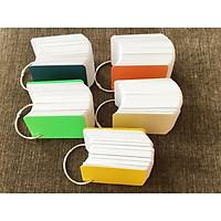 500 thẻ flashcard trắng cao cấp 5x8cm bo góc tặng kèm 5 khoen inox + 10 bìa màu cứng học ngoại ngữ