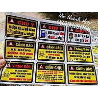 tem cảnh báo / tem sticker dán xe máy, ô tô, mủ bảo hiểm...