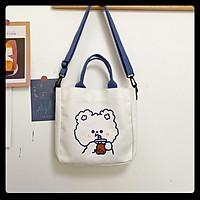Túi tote vải canvas nữ đeo vai mini họa tiết gấu thỏ cute thời trang Ulzzang Hàn Quốc
