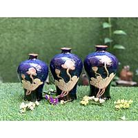 Set lọ hoa men hỏa biến xanh dáng đùi dế