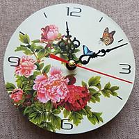Đồng hồ treo tường Vintage hoa mẫu đơn cát tường size 12cm DH58