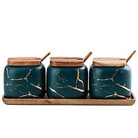 Set 3 hũ gia vị sứ nắp gỗ cao cấp phong cách Á Âu