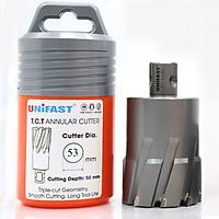 Mũi khoan từ hợp kim UNIFAST TCT Ø 53 mm khoan sâu tối đa 50 mm sử dụng trên mọi loại máy khoan đế từ.