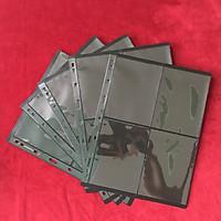 Combo 5 phơi 4 ngăn đen dọc, có 2 mặt, chất liệu nhựa tổng hợp dẻo dai, bền chắc, dùng để đựng tem, tiền, vật dụng sưu tầm hữu ích -  SP0001143