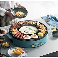 Bếp lẩu nướng đa năng ARN-045 cỡ lớn 45cm kết hợp 2 trong 1 màu xanh công suất lớn 2200W dễ dàng ăn lẩu nướng tại nhà