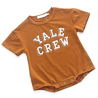 Lovely Infant Girls Boys Cotton Summer Short Sleeves Cartoon Letter Print Climb Soft Jumpsuit 0-3Y Cute Newborn Clothes