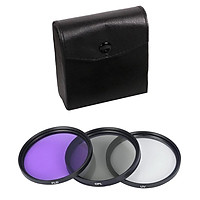 3 In 1 FLD UV CPL Lens Filter With Carry Bag For Canon Sony DSLR Camera