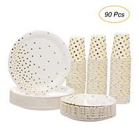 "30pcs 9oz Paper Cups + 30pcs 7"" Plates + 30pcs 9"" Plates Set of 90pcs Disposable Drinkware & Dishware with Golden Polka"