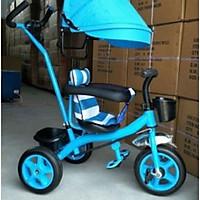 Xe đạp 3 bánh cần đẩy có bàn đạp, mái che, bảo hiểm, để chân- màu cho bé trai