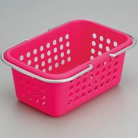 Giỏ nhựa đựng đồ có quay xách cỡ trung - màu hồng - Hàng Nội Địa Nhật