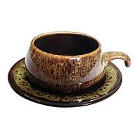 Bộ Tách Coffee Đĩa Lõm - Gốm Sứ Bát Tràng - P06V - Màu Vàng Gấm