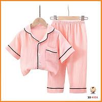 Bộ Pijama Cộc Chất Đũi Nhăn Cho Bé, Bộ Đồ Ngủ Nhà Cộc Tay Cực Xinh Cho Bé Từ 6-28kg - 2D KIDS