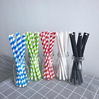 Combo 350 ống hút giấy phi 8 x 197 mm đủ màu sắc dùng cho sinh tố, đá bào (gói 50 ống) sản xuất tại Việt Nam