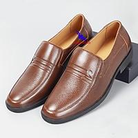 Giày tây nam da bò thật mũi bo tròn dành cho người trẻ trung niên cao niênGiầy Nam Ông Già Giày cha Giày của bố O-1 nâu